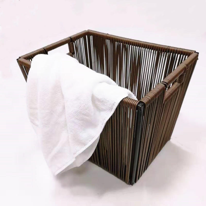 New design washable brown PP wire metal laundry basket with handle