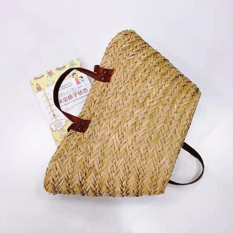 Natural color sea grass hand made handbag woven straw beach bag