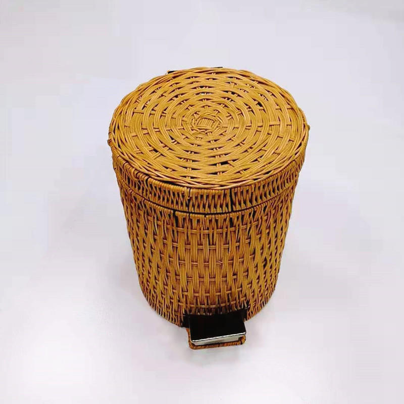 Washable hand weaving nature rattan waste container nature wicker trash
