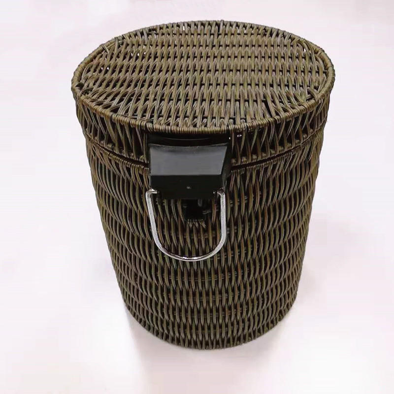 Carehome household ash-bin handicraft pp rattan garbage can for hotel