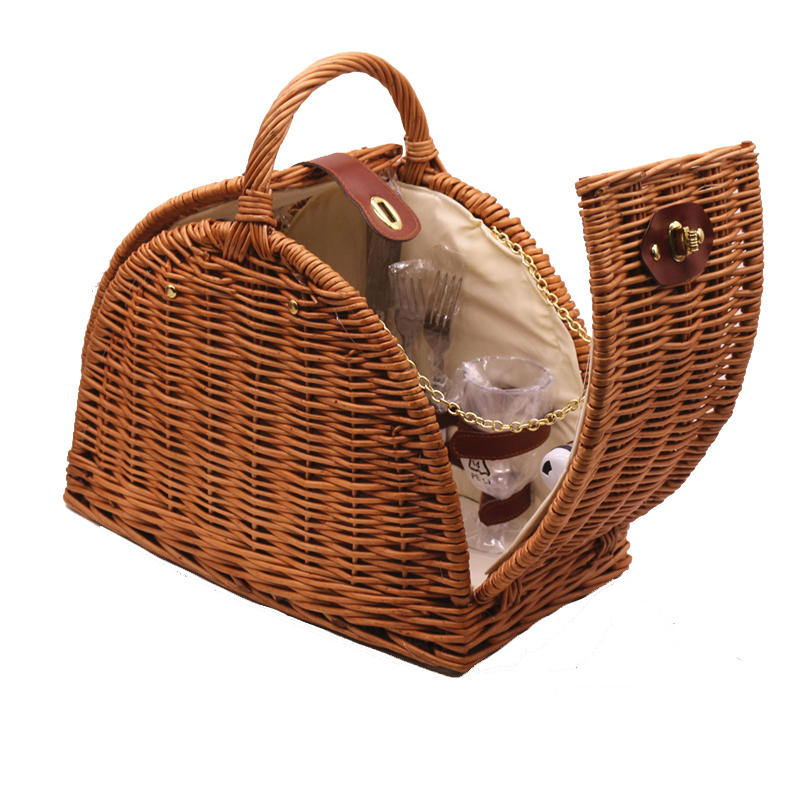 100% handicraft wicker hamper basket two or three person picnic bag