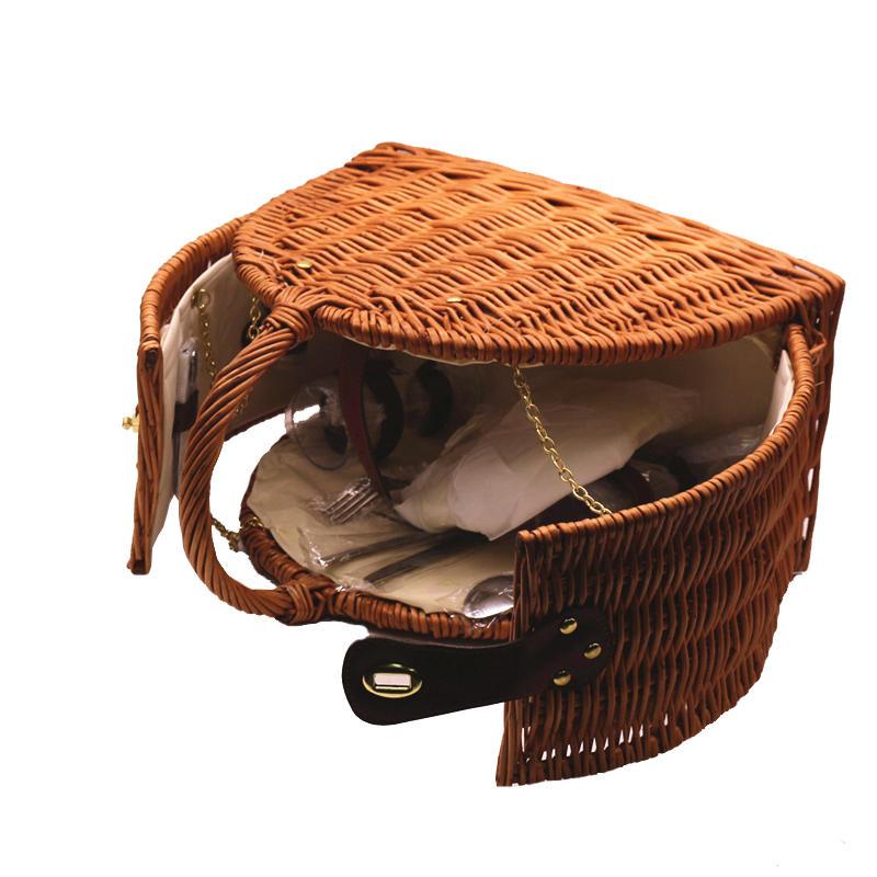 100% handicraft wicker hamper basket two or three person picnic bag