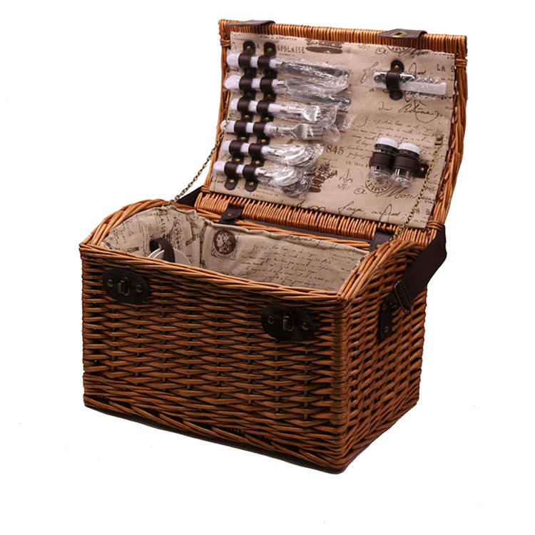 Carehome single shoulder picnic bag wicker storage hamper