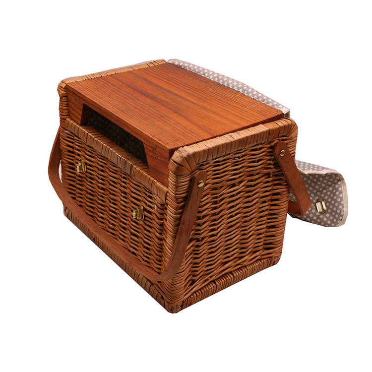 Square wicker rattan woven dim sum picnic storage hamper basket