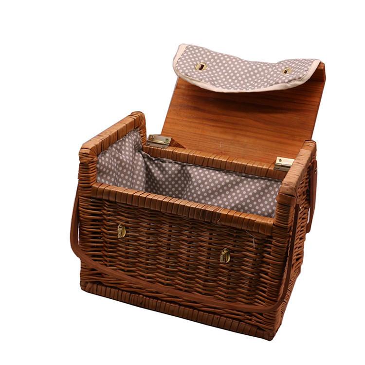 Square wicker rattan woven dim sum picnic storage hamper basket