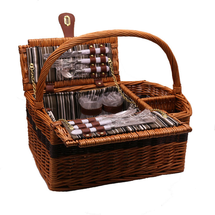 Wholesale Wicker Picnic 4 Person Rattan Willow Hamper Basket