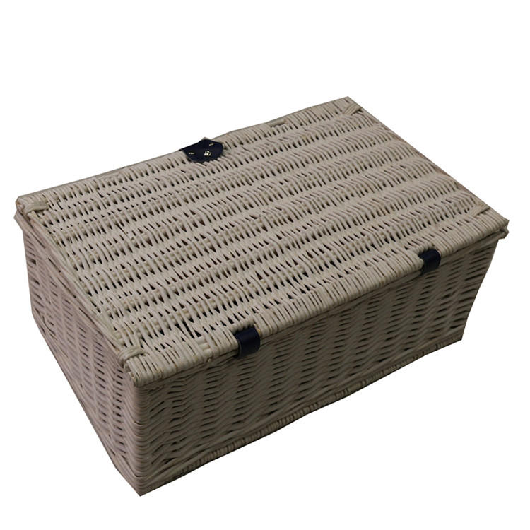 Handwoven White Clothes Hamper Wicker Basket With Handle