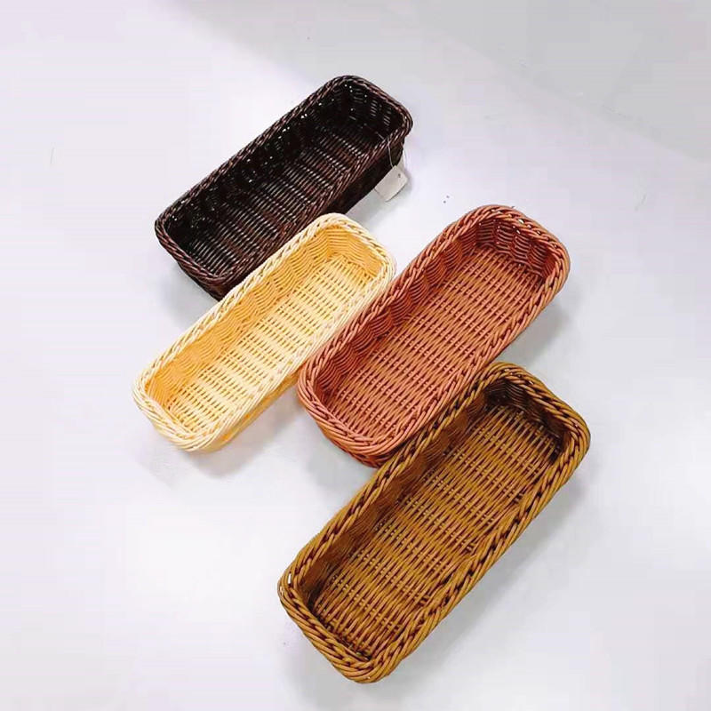 Handicraft pp rattan cutlery basket for knives and forks