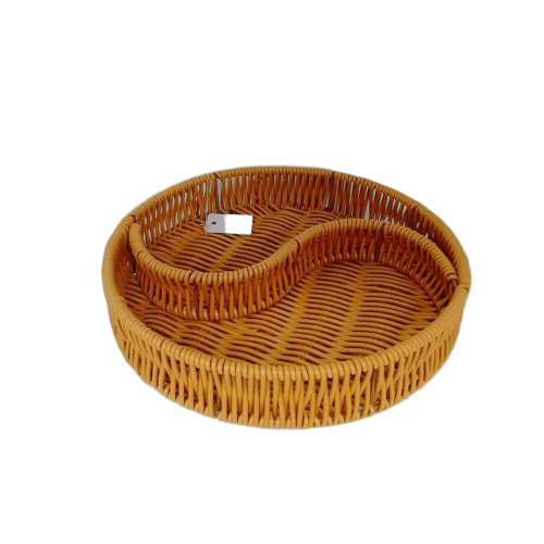 Carehome two divides pp rattan basket tray