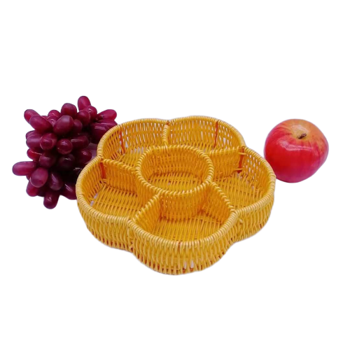 Flower shape pp rattan basket divide tray