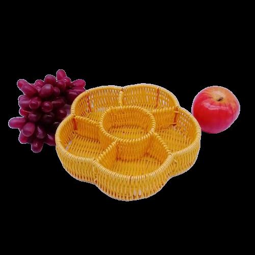Flower shape pp rattan basket divide tray