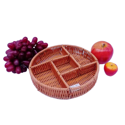 FDA test washable pp rattan five divides basket