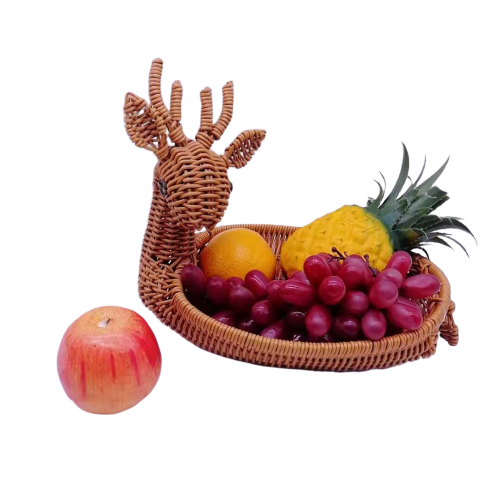 Sika deer plastic rattan storage basket
