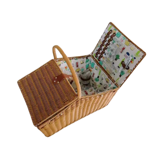 Graceful washable PP rattan picnic basket