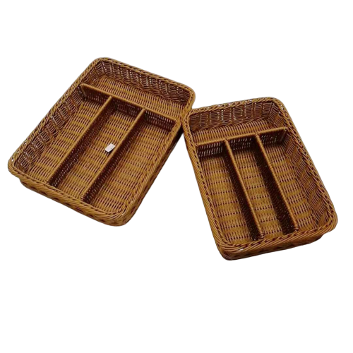 Chopsticks tray four divides pp rattan cutlery basket for knife and fork