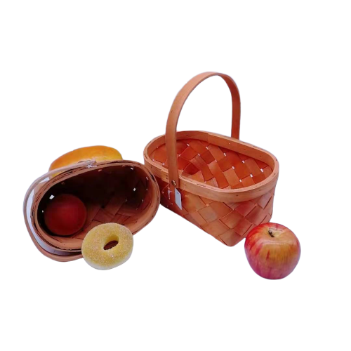 100% nature wood banana basket with handle cheap price fruit basket