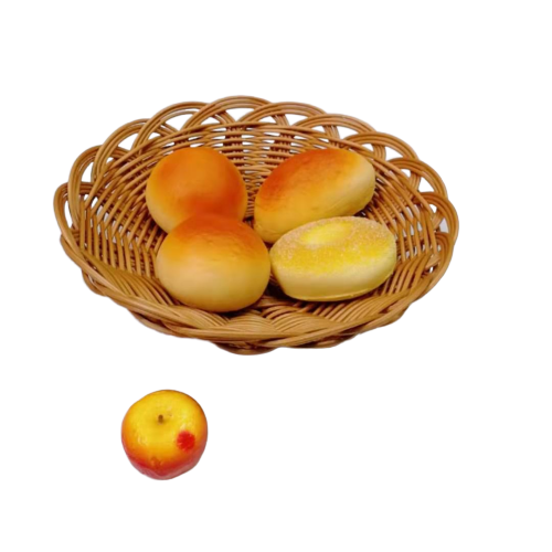 Shallow round flower shape pp wicker basket for food storage