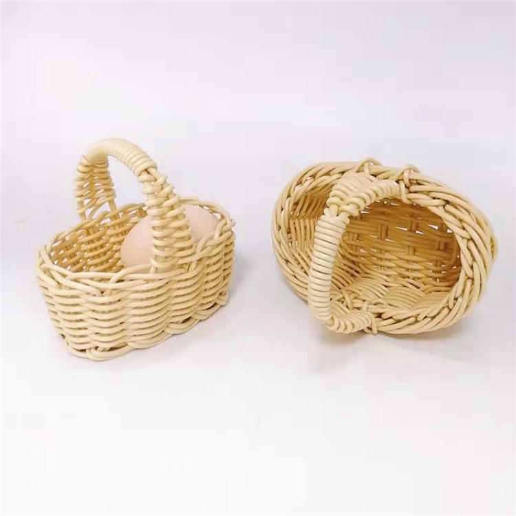 Mini hand woven pp rattan basket with handle