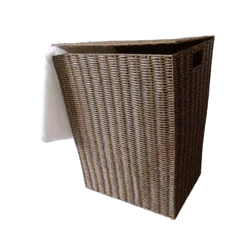 Brown pp wicker laundry basket with lid and handle