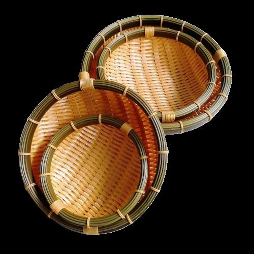 DW-003  Factory wholesale washable polypropylene bamboo basket, round plastic bamboo basket, artistically handmade  basket