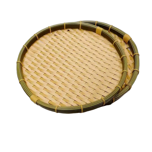 DR-003 round handcraft bamboo bakery basket New material products with washable polypropylene