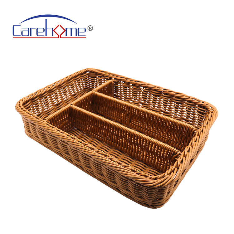 Food grade eco-friendly Imitation Woven Mesh Cutlery Storage Basket 4 Compartments Kitchen Forks Knifes Rattan Storage Tray