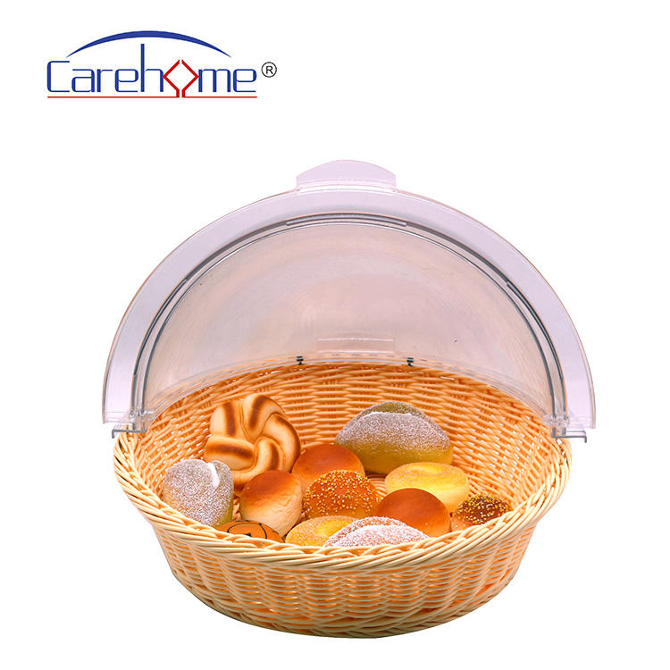 Hand-made  graceful plastic rattan bread basket for hotel  with cover