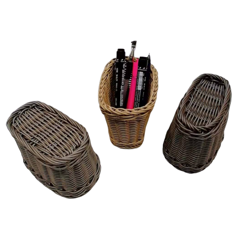 Hand made pp wicker pen holder small things storage basket