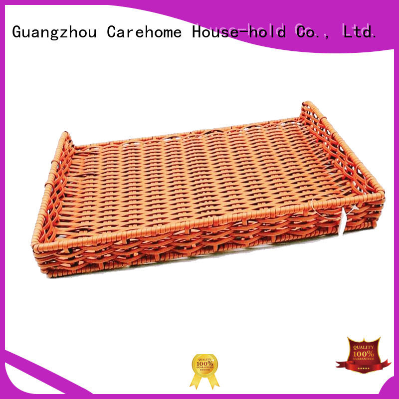BM-0111 hand weaving flat pp rattan basket for  bakery